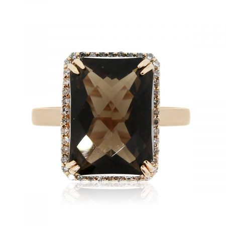 14k Rose Gold 0.42ctw Diamond and Smoky Topaz Ring