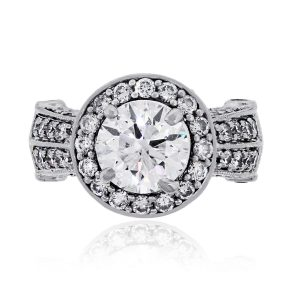 14k White Gold 1.59ct Round Cut Diamond Halo Ring