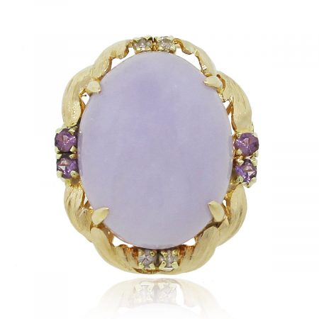 14K Yellow Gold Oval Cabochon Lavender Jade Ring