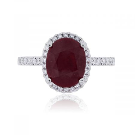 18k White Gold 3.91ct Oval Ruby and 0.34ctw Diamond Halo Ring