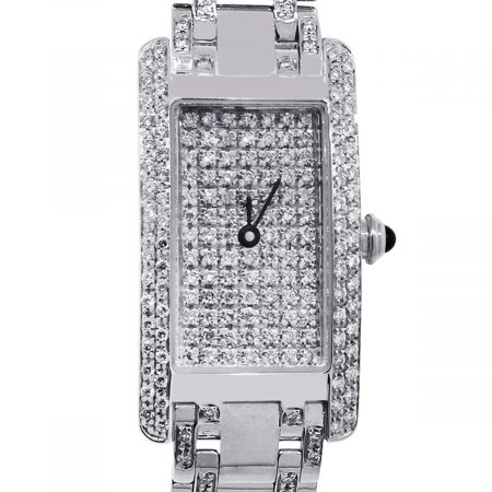 14k white gold diamond ladies watch