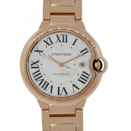 Cartier 2999 Ballon Bleu 18k Rose Gold Silver Roman Dial Watch