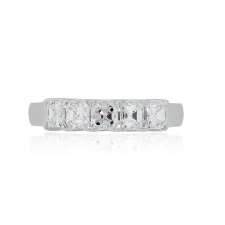 18k White Gold 1.15ctw Asscher Cut Diamond Band
