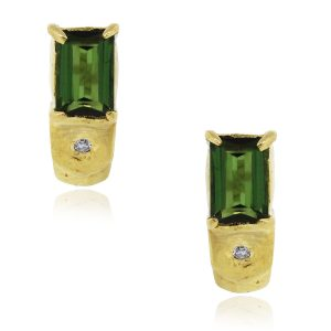 18k Yellow Gold 0.02ctw Diamond and Green Tourmaline Earrings