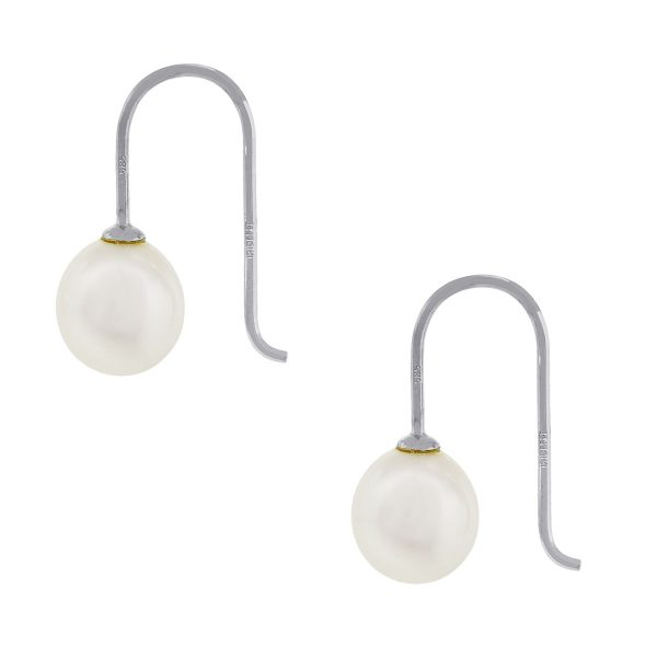 14k White Gold White Pearl Drop on Wire Earrings