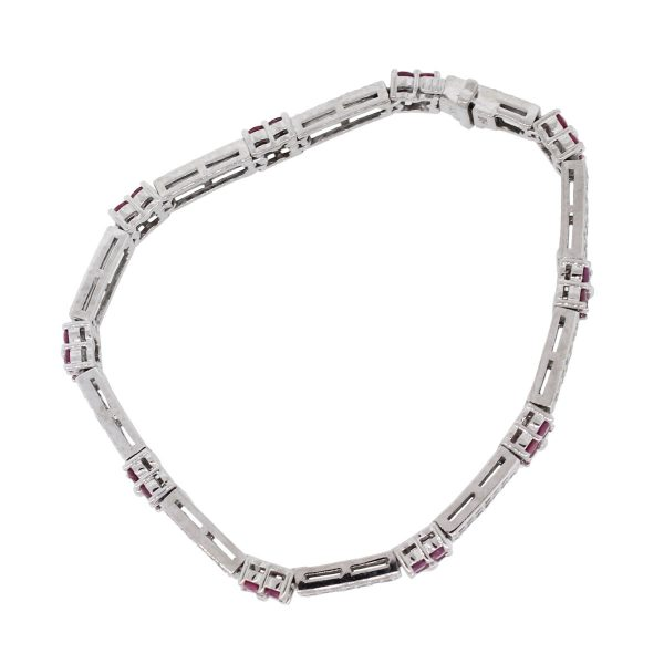14k White Gold 2.10ctw Diamond With 2ctw Pink Sapphire Double Row Flower Bracelet