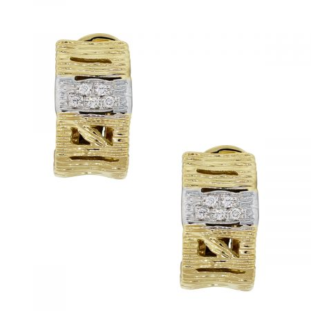 Roberto Coin 18k Yellow Gold 0.18ctw Diamond Elephant Skin Huggie Earrings