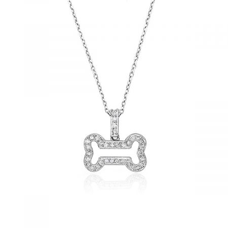 Apparel & A14k White Gold 0.20ctw Diamond Dog Bone Pendant Necklaceccessories > Jewelry > Necklaces