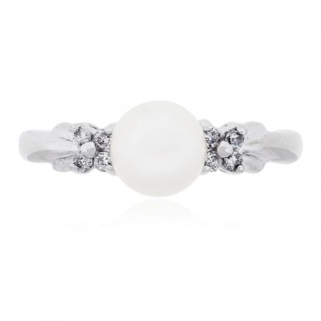 10k White Gold 0.12ctw Diamond and Center Pearl Ring
