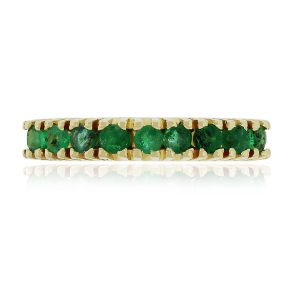 18k Yellow Gold 0.36ctw Round Cut Emerald Band