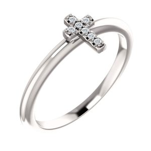 diamond cross stackable ring