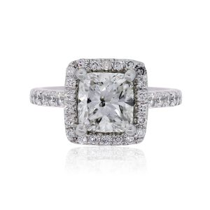14k White Gold 1.51ct Cushion Cut GIA Certified Diamond Engagement Ring