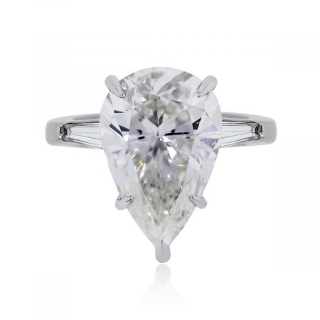 Platinum 5.60ct Pear Shape GIA Certified Diamond Engagement Ring