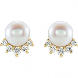 14k Yellow Gold 5mm Pearl and 0.08ctw Diamond Earrings