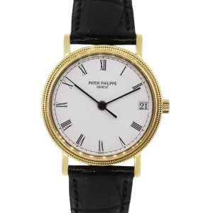 Patek Philippe 3802/200J Calatrava 18k Yellow Gold on Leather Watch