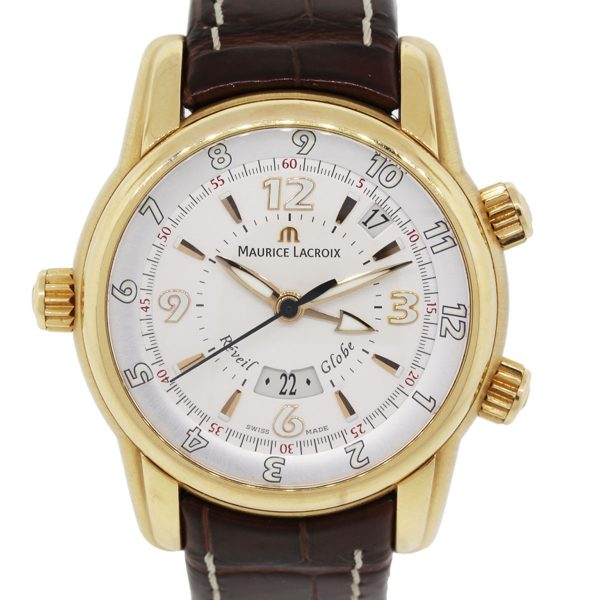 Maurice Lacroix MP6388 Masterpiece Reveil Globe 18k Rose Gold on Leather Strap Watch