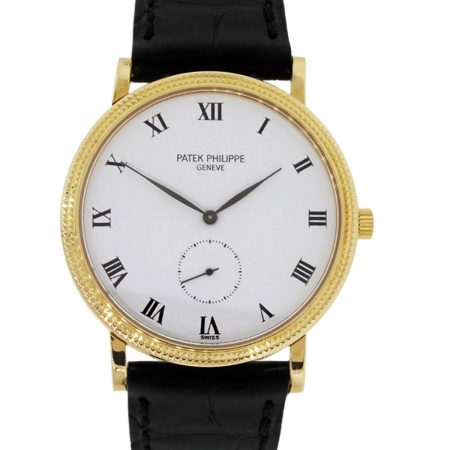 Patek Philippe 3919 Calatrava 18k Yellow Gold On Leather Watch