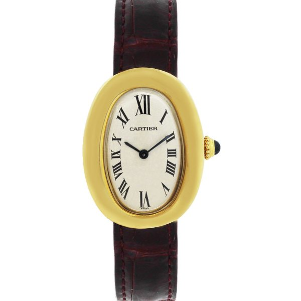 Cartier 19521 Baignoire 18k Yellow Gold Leather Ladies Watch