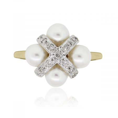 14k Yellow Gold 0.15ctw Diamond and Pearl Cluster Ring