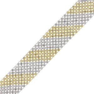 14k Two Tone Gold 10.37ctw Diamond Carpet Bracelet