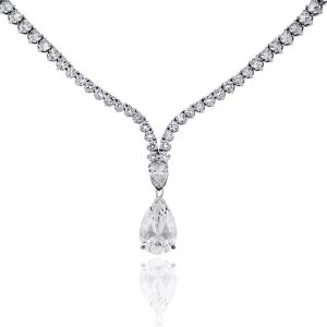 18k White Gold 23.61ctw Round and Pear Shape Diamond Drop Necklace