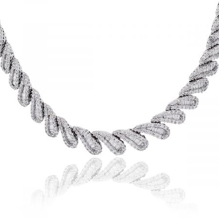 Platinum 20.34ctw Baguette and Round Brilliant Diamond Collar Necklace