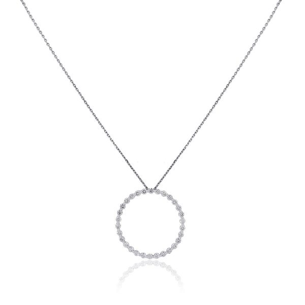 14k White Gold 1.52ctw Round Brilliant Circle Pendant and Necklace