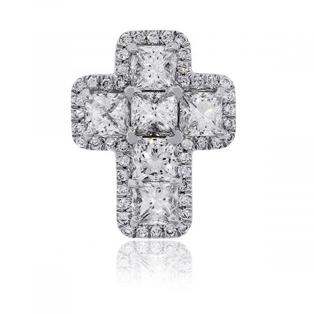 18k White Gold 1.70ctw Princess and Round Brilliant Diamond Cross Pendant