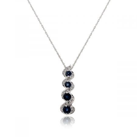 14k White Gold 0.23ctw Diamond and Sapphire Drop Pendant Necklace