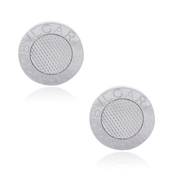 Bulgari 18k White Gold Woven Design Mens Cuff Links