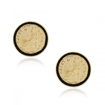 Lucien Piccard 14k Yellow Gold Black Spinel Coin Cuff Links