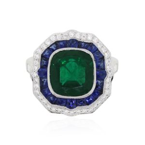 Platinum 3.33ct Untreated GIA Certified Emerald Diamond Sapphire Ring