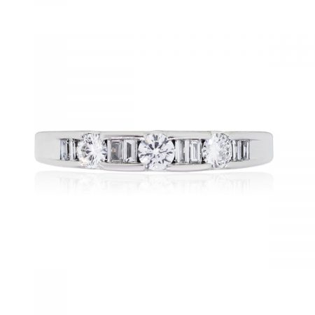 Platinum 0.50ctw Round Brilliant and Baguette Shape Diamond Band