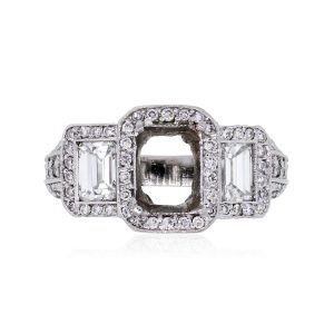 Platinum 2.5ctw Emerald Cut Diamond Mounting