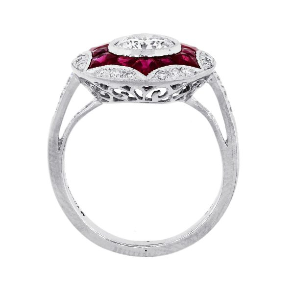 Platinum 0.93ctw Round diamonds & 0.85ctw Ruby Ring