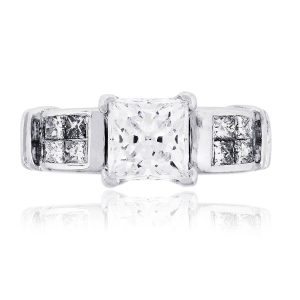 14k White Gold 0.50ctw Princess cut Diamond Mounting with CZ Center