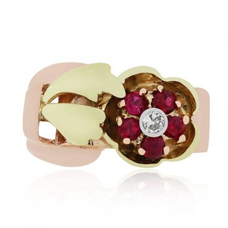 Diamond and ruby ring