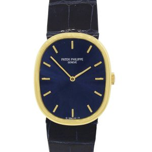 Patek Philippe 18k Yellow Gold 3848/J Ellipse Blue Dial Watch