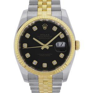 Rolex 116233 Datejust Two Tone Black Diamond Dial Watch