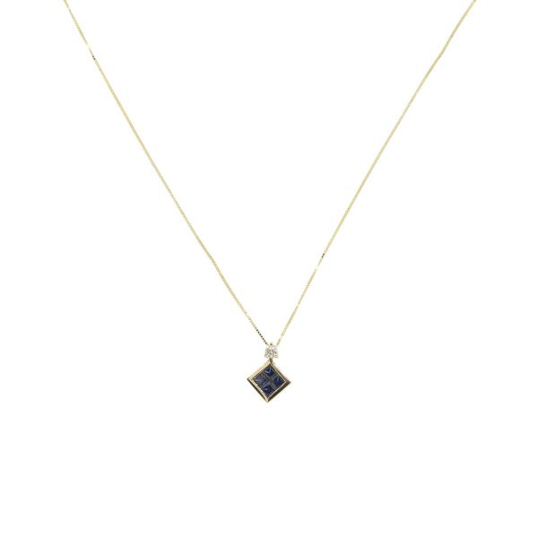 14k Yellow Gold 0.10ct Diamond and sapphire Pendant with Fine Box Chain