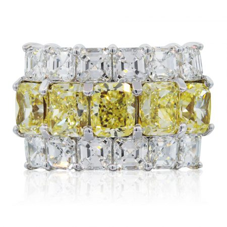 fancy yellow radiant cut diamonds ring