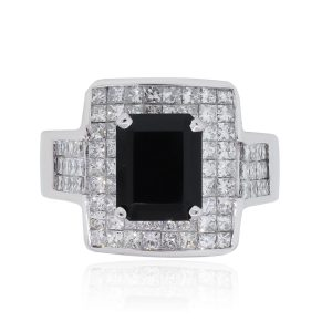 18k White Gold 3ctw Diamond and Emerald Cut Onyx Ring