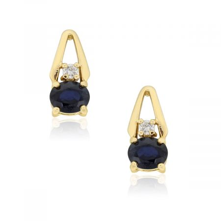 14k Yellow Gold Diamond and Oval Sapphire Stud Earrings