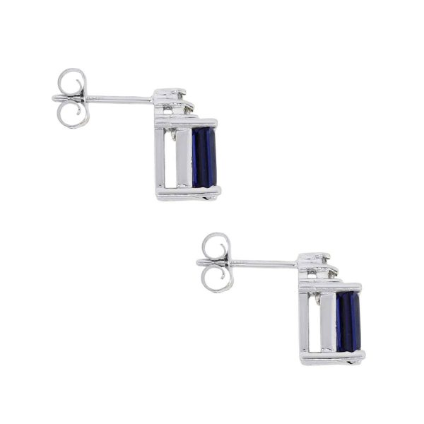 14k White Gold 2.50ctw Emerald Cut Sapphires and 0.06ctw Diamond Stud Earrings
