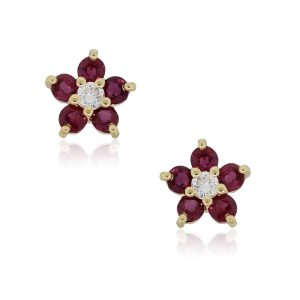 14k Yellow Gold 0.16ctw Diamond and Ruby Flower Stud Earrings