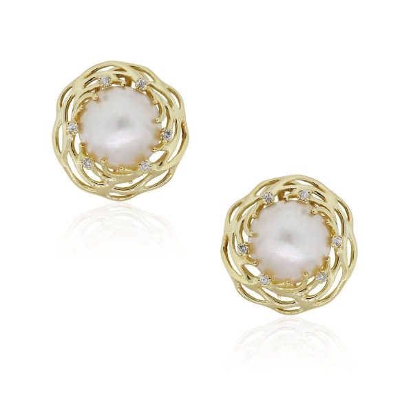 14k Yellow Gold 0.25ctw Diamond and Pearl Button Earrings