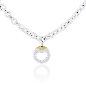 Movado 18k Yellow Gold & Sterling Silver 0.02ctw Heart Chain Necklace