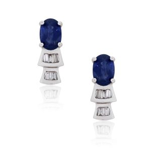 14k White Gold 0.86ctw Oval Sapphire and Baguette Diamond Stud Earrings