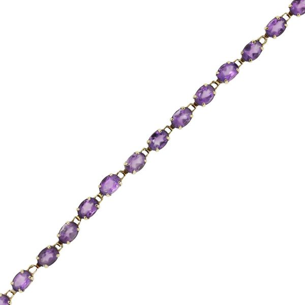 14k Yellow Gold Oval Shape Amethyst Line Bracelet