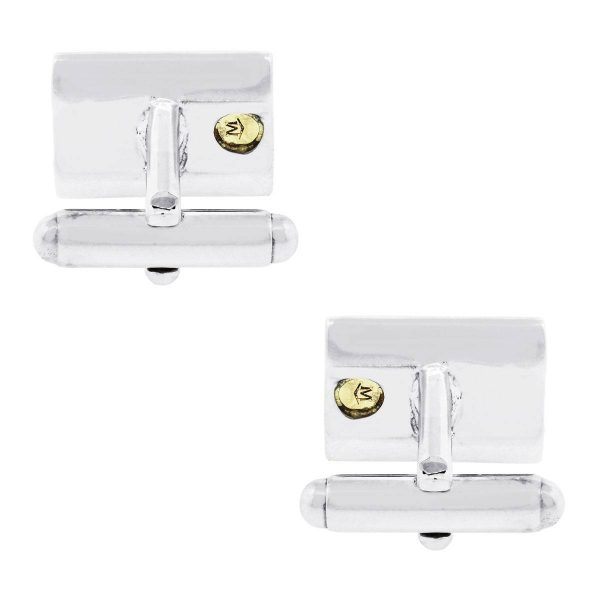 Movado 18k Yellow Gold and Sterling Silver 3 row Mens Cufflinks